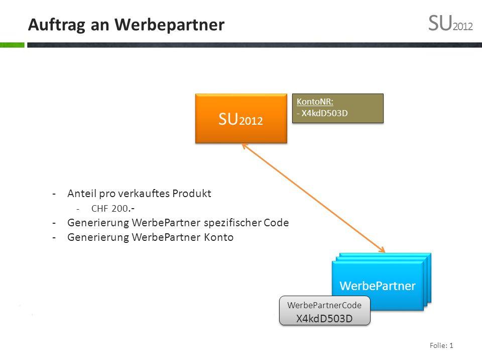 Auftrag an Werbepartner SU 2012 SU 2012 WerbePartner -Anteil pro verkauftes Produkt -CHF 200.- -Generierung WerbePartner spezifischer Code -Generierung WerbePartner Konto WerbePartnerCode X4kdD503D WerbePartnerCode X4kdD503D KontoNR: - X4kdD503D KontoNR: - X4kdD503D Folie: 1