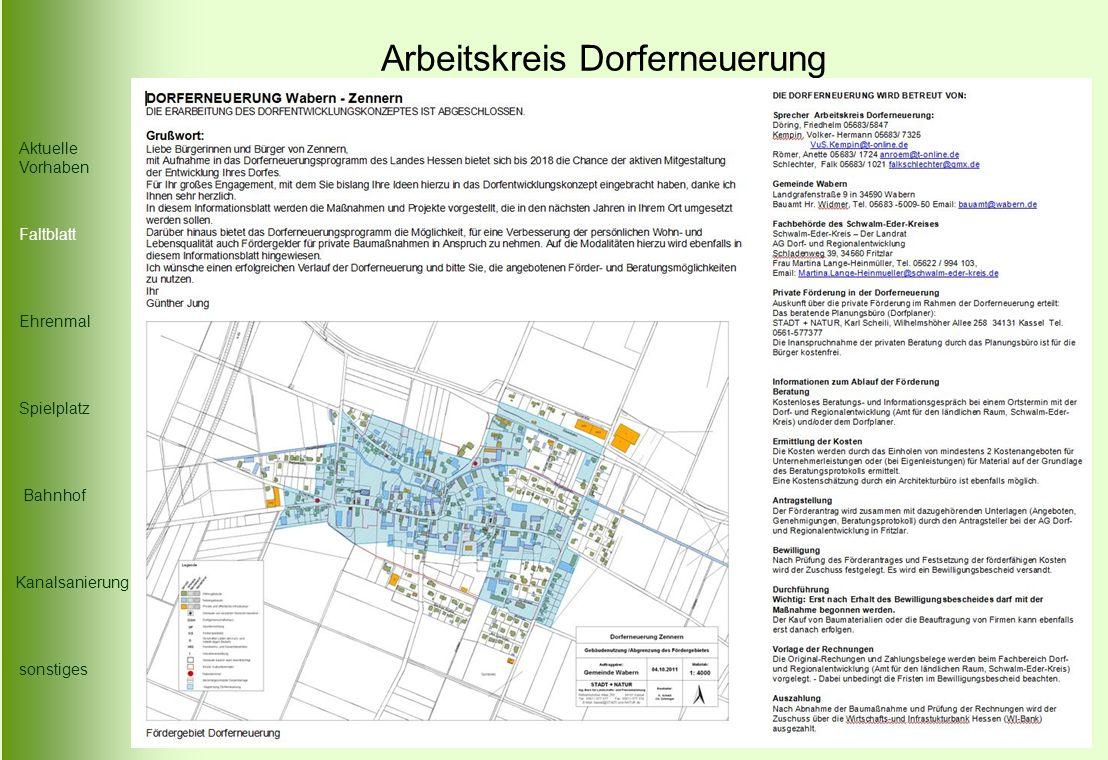 Arbeitskreis Dorferneuerung Die Karte Spielplatz Faltblatt Aktuelle Vorhaben Ehrenmal Bahnhof Kanalsanierung sonstiges