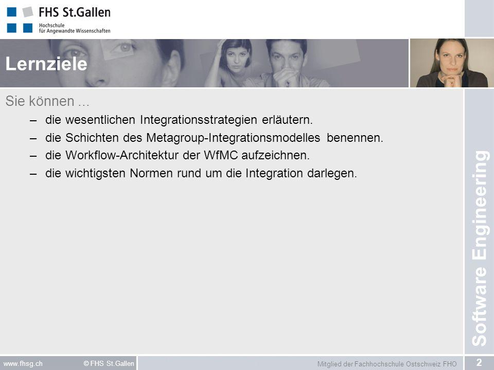 Mitglied der Fachhochschule Ostschweiz FHO 2 www.fhsg.ch © FHS St.Gallen Software Engineering Lernziele Sie können... –die wesentlichen Integrationsst