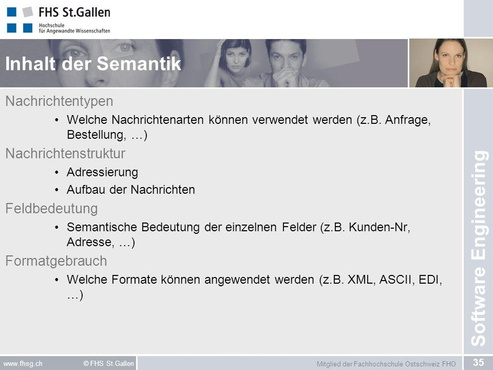 Mitglied der Fachhochschule Ostschweiz FHO 35 www.fhsg.ch © FHS St.Gallen Software Engineering Inhalt der Semantik Nachrichtentypen Welche Nachrichten