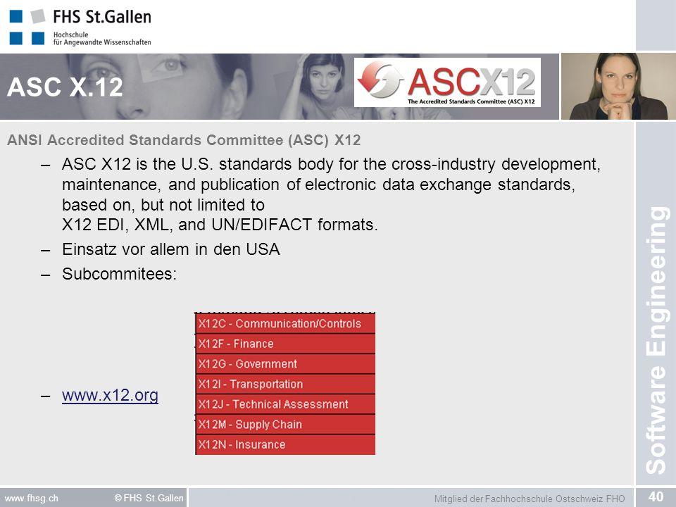 Mitglied der Fachhochschule Ostschweiz FHO 40 www.fhsg.ch © FHS St.Gallen Software Engineering ASC X.12 ANSI Accredited Standards Committee (ASC) X12
