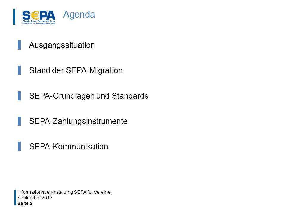 Agenda Ausgangssituation Stand der SEPA-Migration SEPA-Grundlagen und Standards SEPA-Zahlungsinstrumente SEPA-Kommunikation September 2013 Seite 2 Informationsveranstaltung SEPA für Vereine