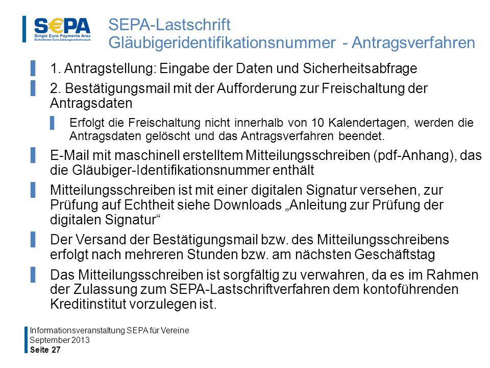 SEPA-Lastschrift Gläubigeridentifikationsnummer - Antragsverfahren 1.