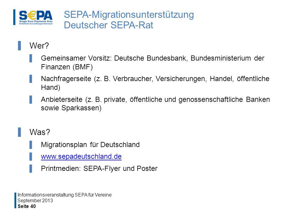 SEPA-Migrationsunterstützung Deutscher SEPA-Rat Wer.