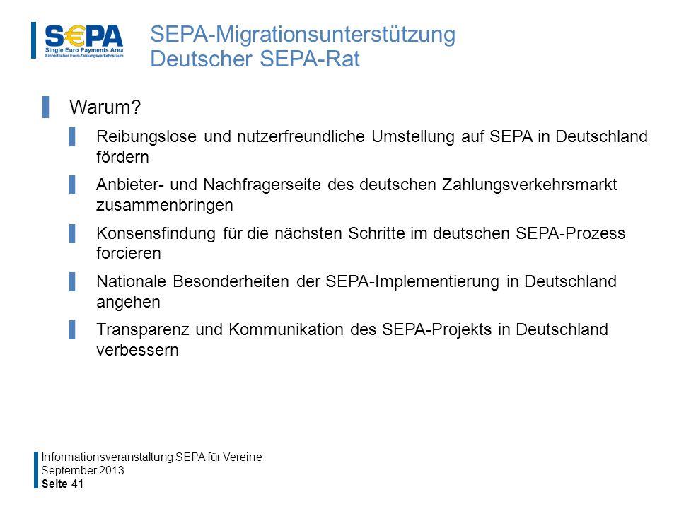 SEPA-Migrationsunterstützung Deutscher SEPA-Rat Warum.