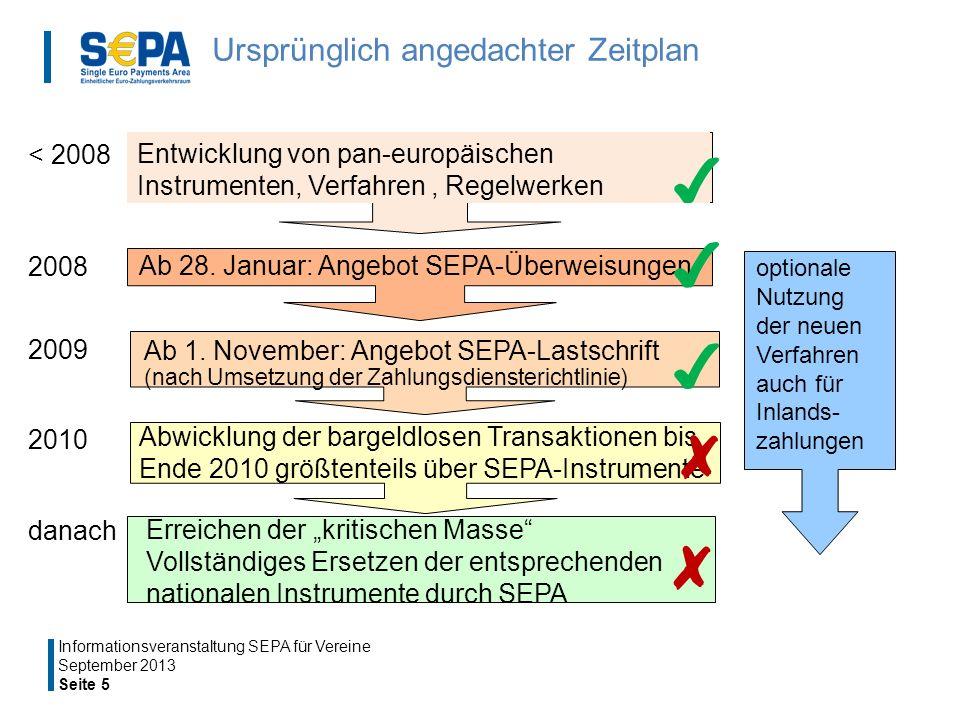 Ursprünglich angedachter Zeitplan September 2013 Seite 5 Informationsveranstaltung SEPA für Vereine Ab 28.