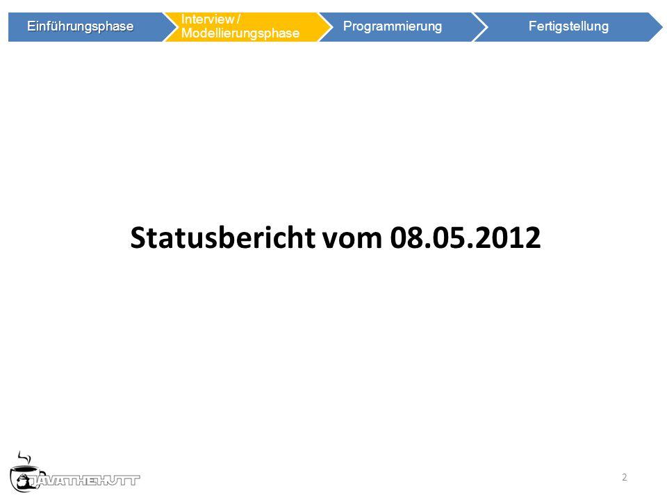 2 Einführungsphase Einführungsphase Interview / Modellierungsphase ProgrammierungFertigstellung Statusbericht vom 08.05.2012