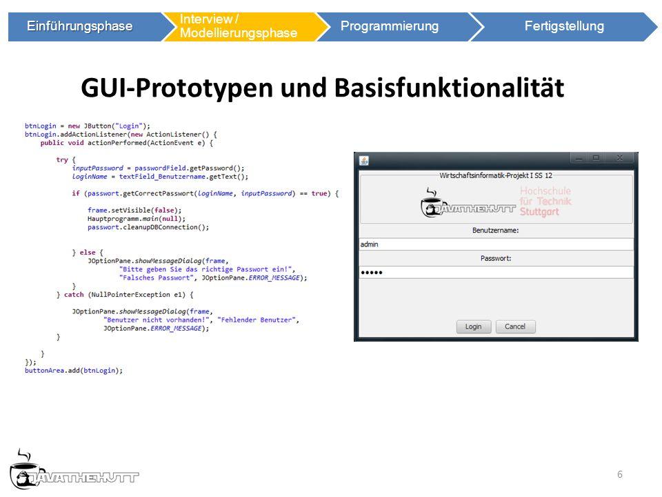 6 Einführungsphase Einführungsphase Interview / Modellierungsphase ProgrammierungFertigstellung GUI-Prototypen und Basisfunktionalität