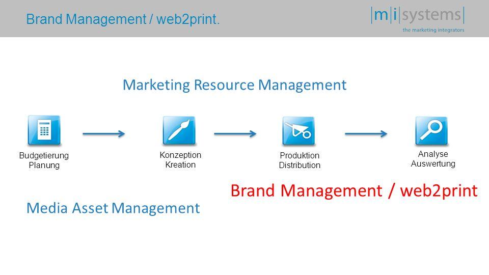 Brand Management / web2print. Budgetierung Planung Konzeption Kreation Produktion Distribution Analyse Auswertung Media Asset Management Marketing Res