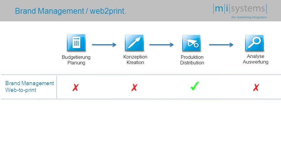 Brand Management / web2print. Budgetierung Planung Konzeption Kreation Produktion Distribution Analyse Auswertung Brand Management Web-to-print