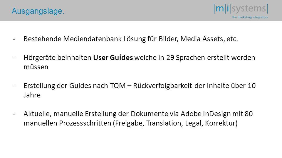 Ausgangslage. -Bestehende Mediendatenbank Lösung für Bilder, Media Assets, etc. -Hörgeräte beinhalten User Guides welche in 29 Sprachen erstellt werde