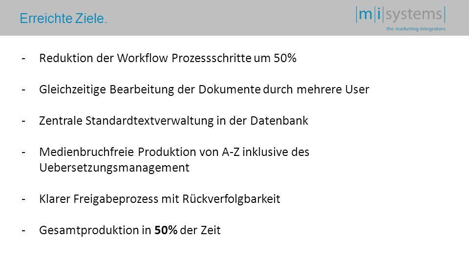 Erreichte Ziele. -Reduktion der Workflow Prozessschritte um 50% -Gleichzeitige Bearbeitung der Dokumente durch mehrere User -Zentrale Standardtextverw