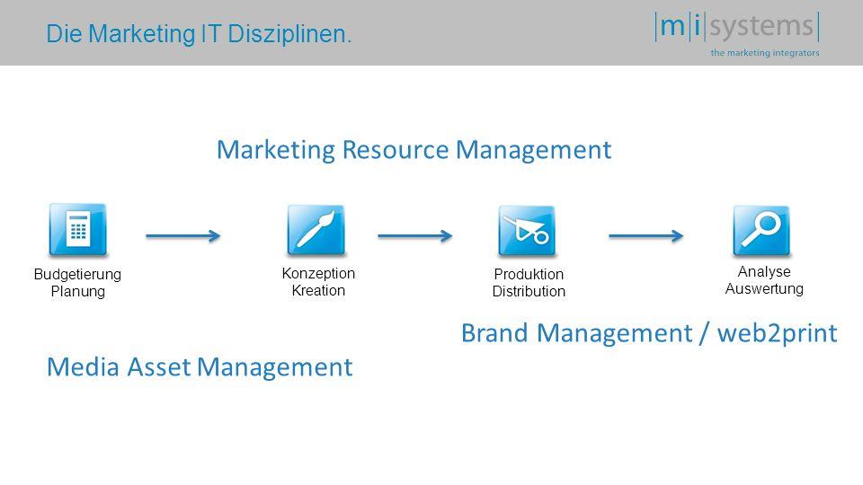 Die Marketing IT Disziplinen. Budgetierung Planung Konzeption Kreation Produktion Distribution Analyse Auswertung Media Asset Management Marketing Res