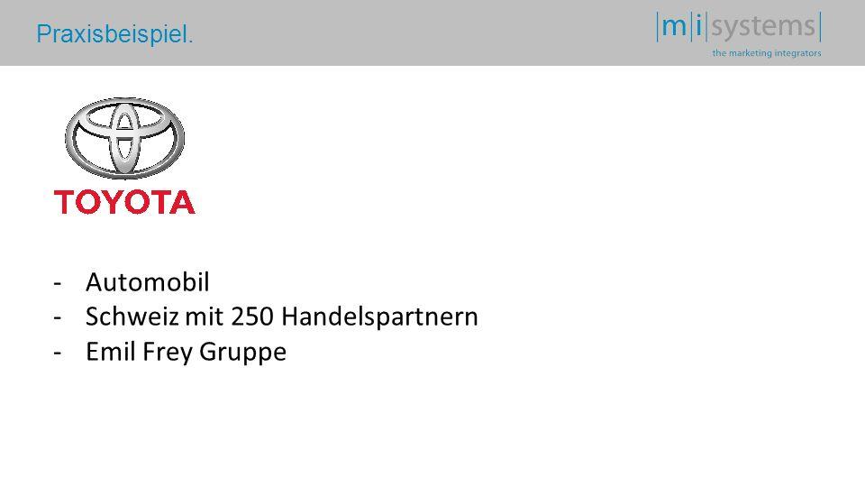 Praxisbeispiel. -Automobil -Schweiz mit 250 Handelspartnern -Emil Frey Gruppe