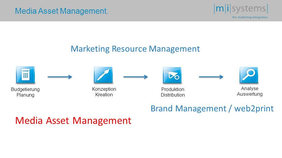Media Asset Management. Budgetierung Planung Konzeption Kreation Produktion Distribution Analyse Auswertung Media Asset Management Marketing Resource