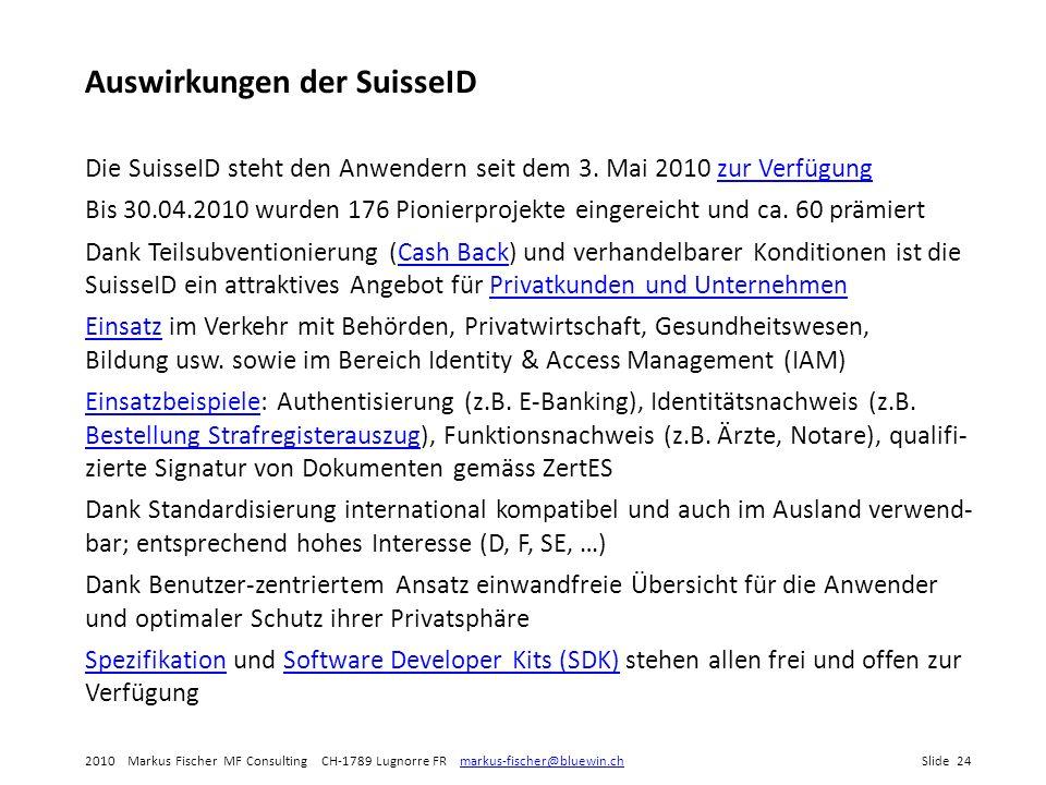 2010 Markus Fischer MF Consulting CH-1789 Lugnorre FR markus-fischer@bluewin.chSlide 24markus-fischer@bluewin.ch Auswirkungen der SuisseID Die SuisseID steht den Anwendern seit dem 3.