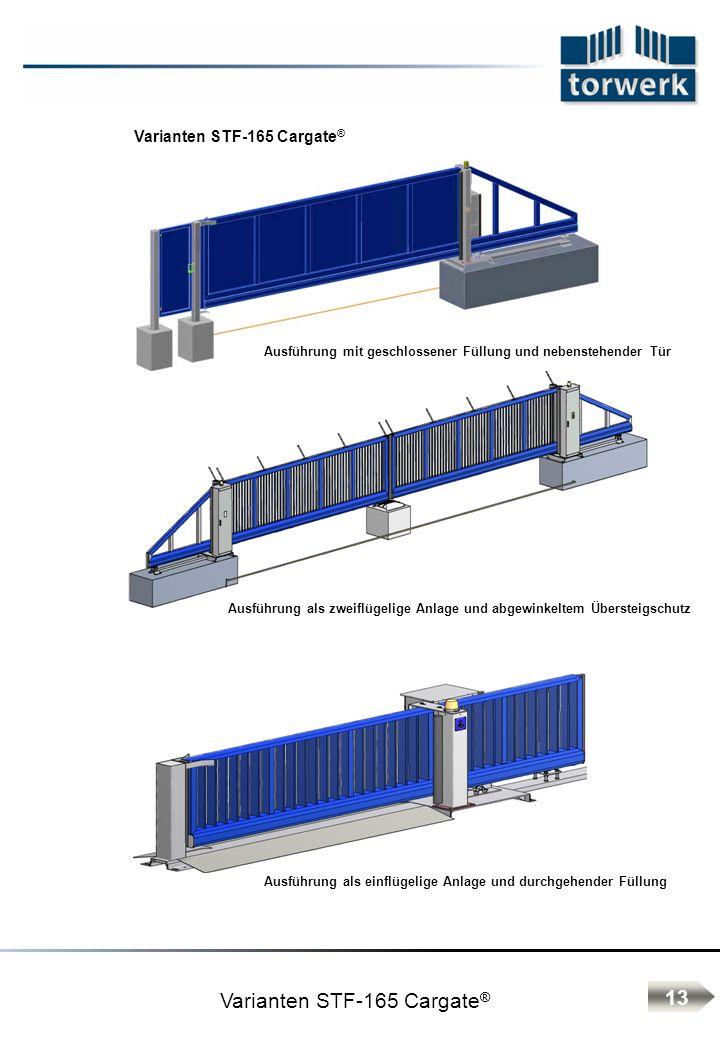 Varianten STF-165 Cargate ® Ausführung mit geschlossener Füllung und nebenstehender Tür Ausführung als einflügelige Anlage und durchgehender Füllung Ausführung als zweiflügelige Anlage und abgewinkeltem Übersteigschutz 13