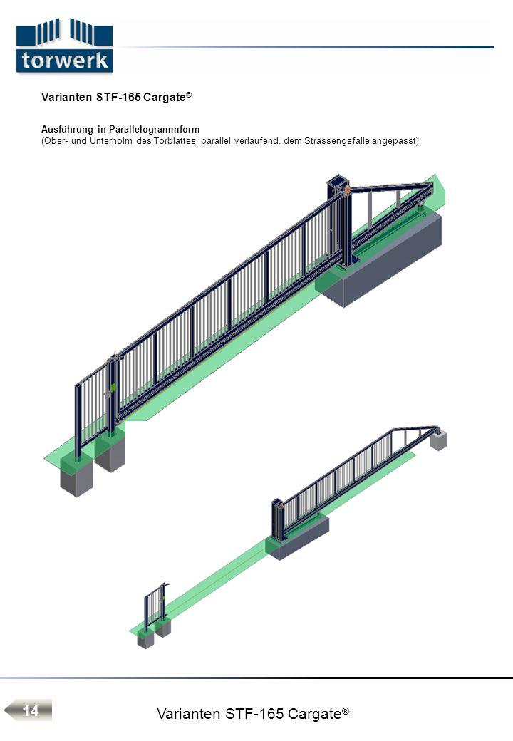 Varianten STF-165 Cargate ® Ausführung in Parallelogrammform (Ober- und Unterholm des Torblattes parallel verlaufend, dem Strassengefälle angepasst) 14