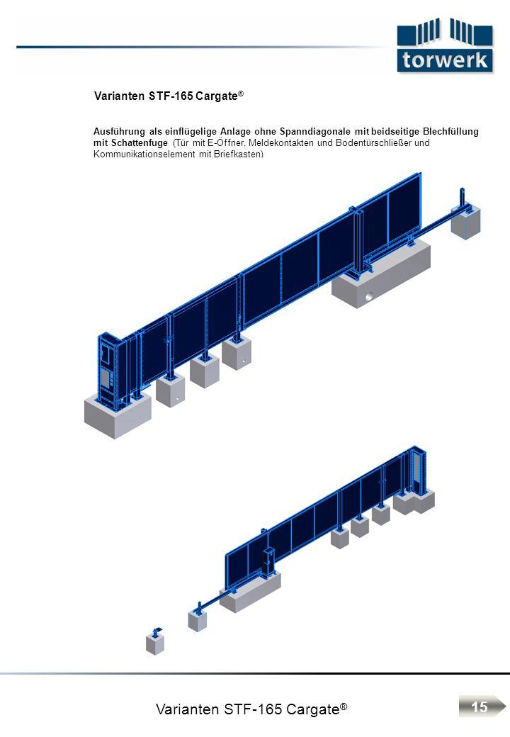 Varianten STF-165 Cargate ® Ausführung als einflügelige Anlage ohne Spanndiagonale mit beidseitige Blechfüllung mit Schattenfuge (Tür mit E-Öffner, Meldekontakten und Bodentürschließer und Kommunikationselement mit Briefkasten) 15