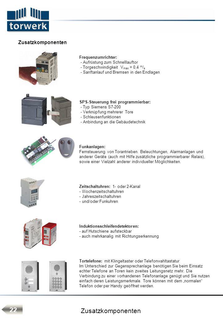 Frequenzumrichter: - Aufrüstung zum Schnelllauftor - Torgeschwindigkeit V max = 0,4 m / s - Sanftanlauf und Bremsen in den Endlagen SPS-Steuerung frei programmierbar: - Typ Siemens S7-200 - Verknüpfung mehrerer Tore - Schleusenfunktionen - Anbindung an die Gebäudetechnik Funkanlagen: Fernsteuerung von Torantrieben.