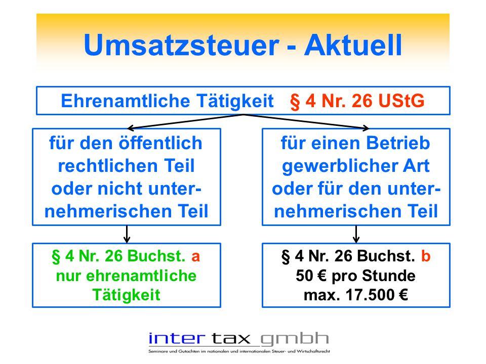 Umsatzsteuer - Aktuell Ehrenamtliche Tätigkeit § 4 Nr. 26 UStG für den öffentlich rechtlichen Teil oder nicht unter- nehmerischen Teil § 4 Nr. 26 Buch