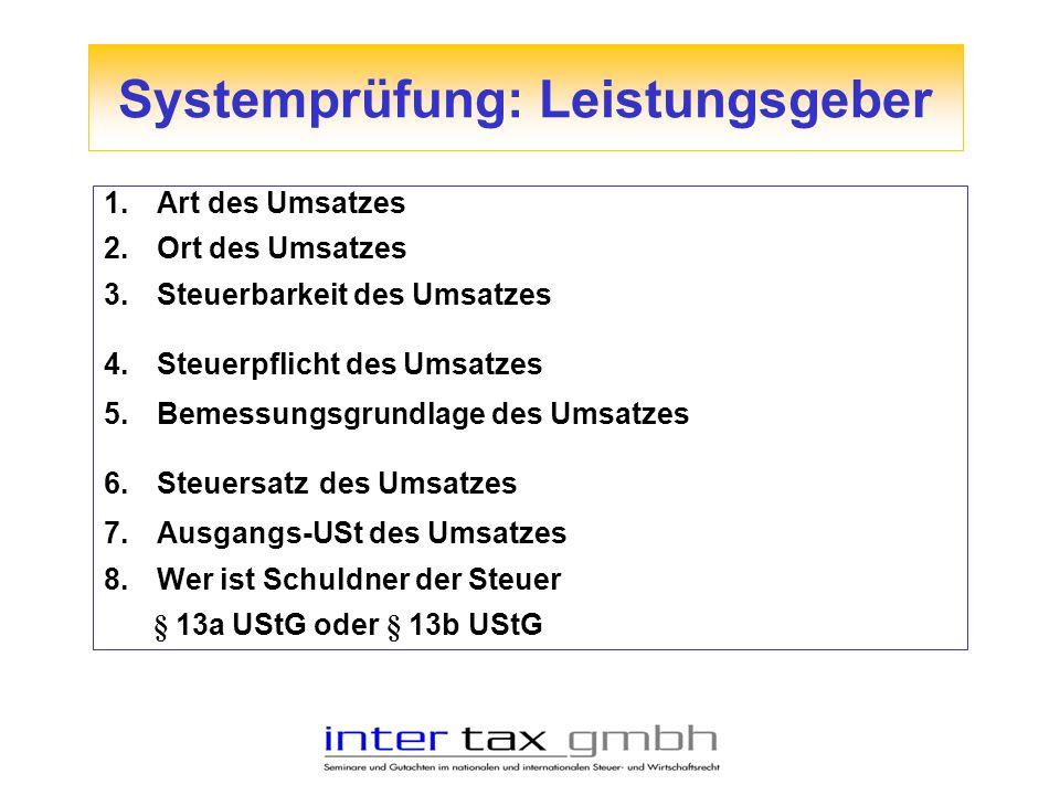 1.Art des Umsatzes 2.Ort des Umsatzes 3.Steuerbarkeit des Umsatzes 4.Steuerpflicht des Umsatzes 5.Bemessungsgrundlage des Umsatzes 6.Steuersatz des Um