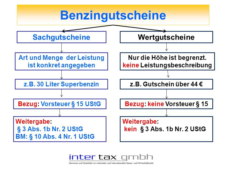 Benzingutscheine SachgutscheineWertgutscheine Art und Menge der Leistung ist konkret angegeben z.B. 30 Liter Superbenzin Bezug: Vorsteuer § 15 UStG We
