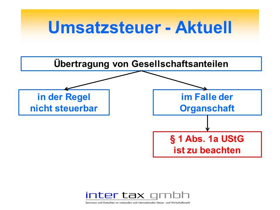 Umsatzsteuer - Aktuell Übertragung von Gesellschaftsanteilen in der Regel nicht steuerbar im Falle der Organschaft § 1 Abs. 1a UStG ist zu beachten
