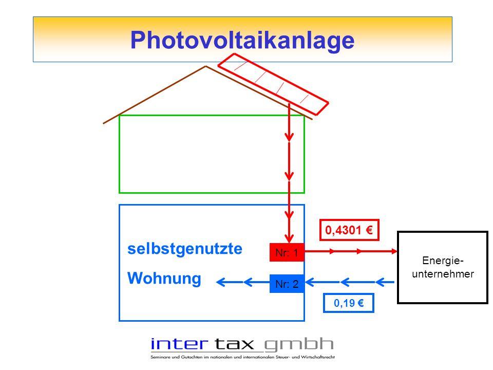 Photovoltaikanlage selbstgenutzte Wohnung Energie- unternehmer Nr: 1 Nr: 2 0,4301 0,19
