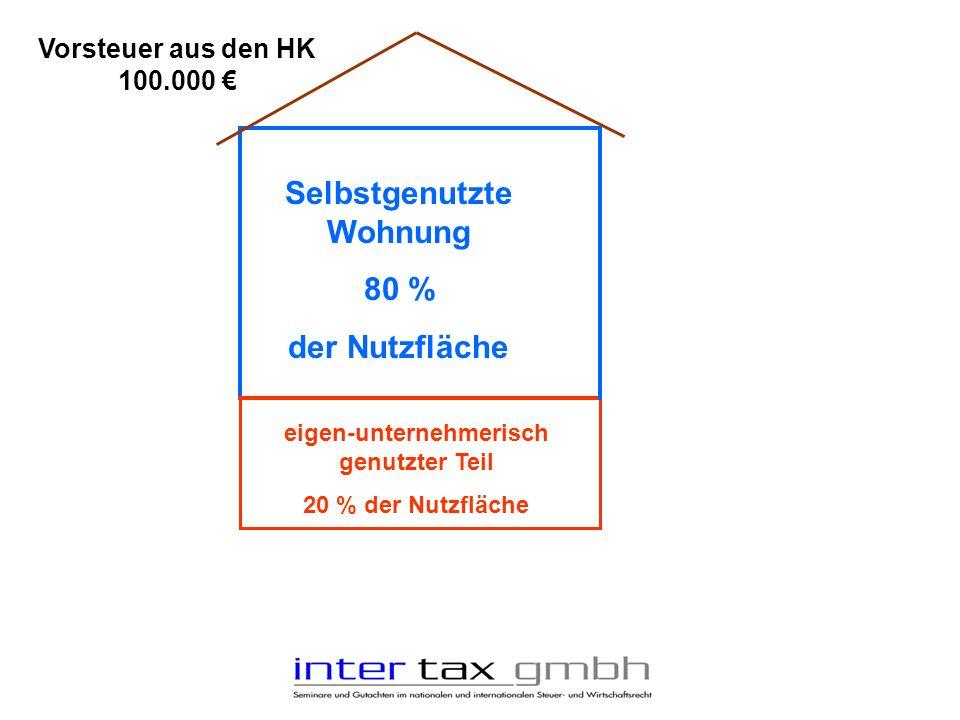 eigen-unternehmerisch genutzter Teil 20 % der Nutzfläche Selbstgenutzte Wohnung 80 % der Nutzfläche Vorsteuer aus den HK 100.000