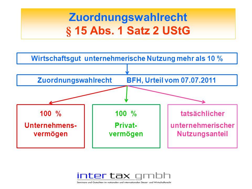 Zuordnungswahlrecht § 15 Abs. 1 Satz 2 UStG Wirtschaftsgut unternehmerische Nutzung mehr als 10 % Zuordnungswahlrecht BFH, Urteil vom 07.07.2011 100 %