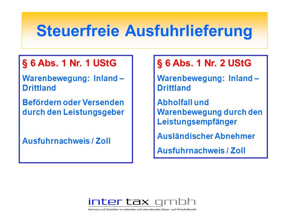 Steuerfreie Ausfuhrlieferung § 6 Abs. 1 Nr. 1 UStG Warenbewegung: Inland – Drittland Befördern oder Versenden durch den Leistungsgeber Ausfuhrnachweis