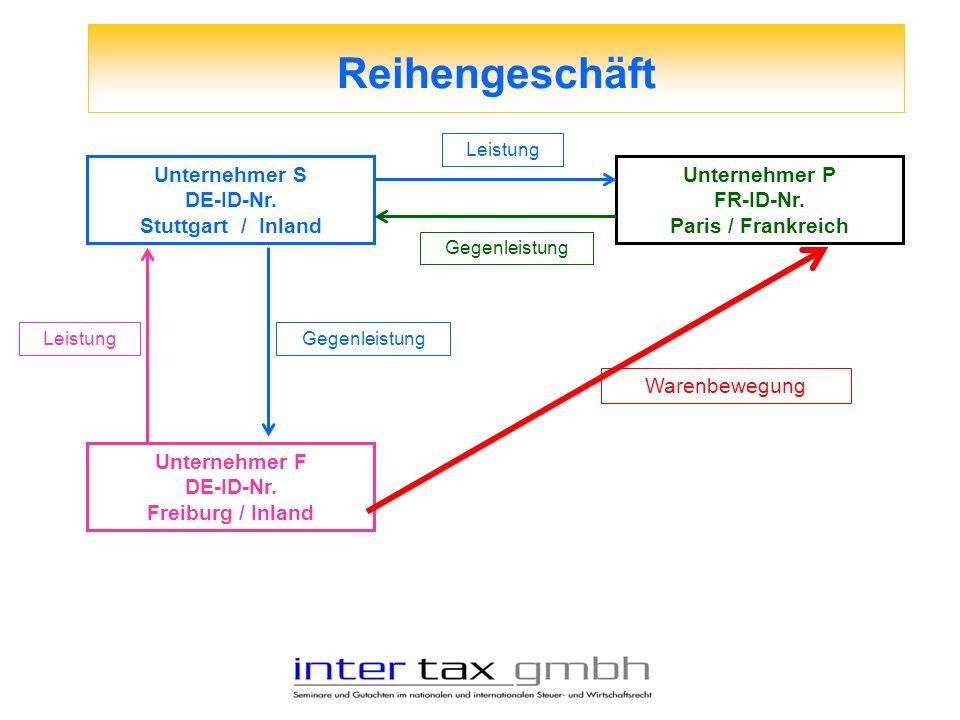Reihengeschäft Unternehmer S DE-ID-Nr. Stuttgart / Inland Unternehmer F DE-ID-Nr. Freiburg / Inland Unternehmer P FR-ID-Nr. Paris / Frankreich Leistun