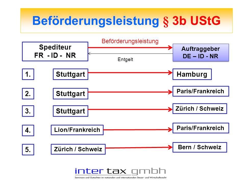 Beförderungsleistung § 3b UStG Spediteur FR - ID - NR Auftraggeber DE – ID - NR Auftraggeber DE – ID - NR Beförderungsleistung Entgelt 1.StuttgartHamb