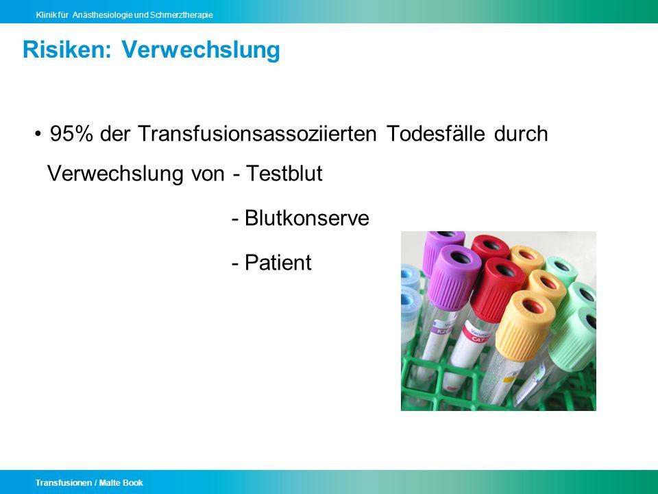 Transfusionen / Malte Book Klinik für Anästhesiologie und Schmerztherapie Risiken: Verwechslung 95% der Transfusionsassoziierten Todesfälle durch Verw