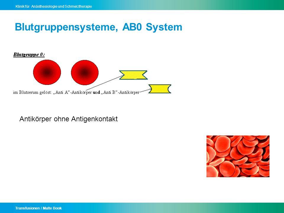 Transfusionen / Malte Book Klinik für Anästhesiologie und Schmerztherapie Blutgruppensysteme, AB0 System Antikörper ohne Antigenkontakt