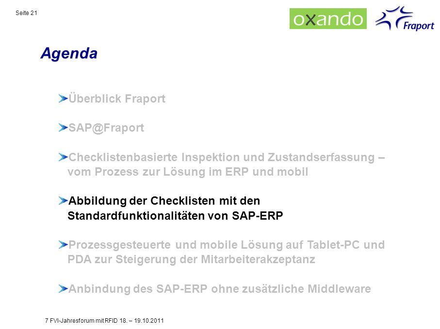 Agenda Seite 21 Überblick Fraport SAP@Fraport Checklistenbasierte Inspektion und Zustandserfassung – vom Prozess zur Lösung im ERP und mobil Abbildung