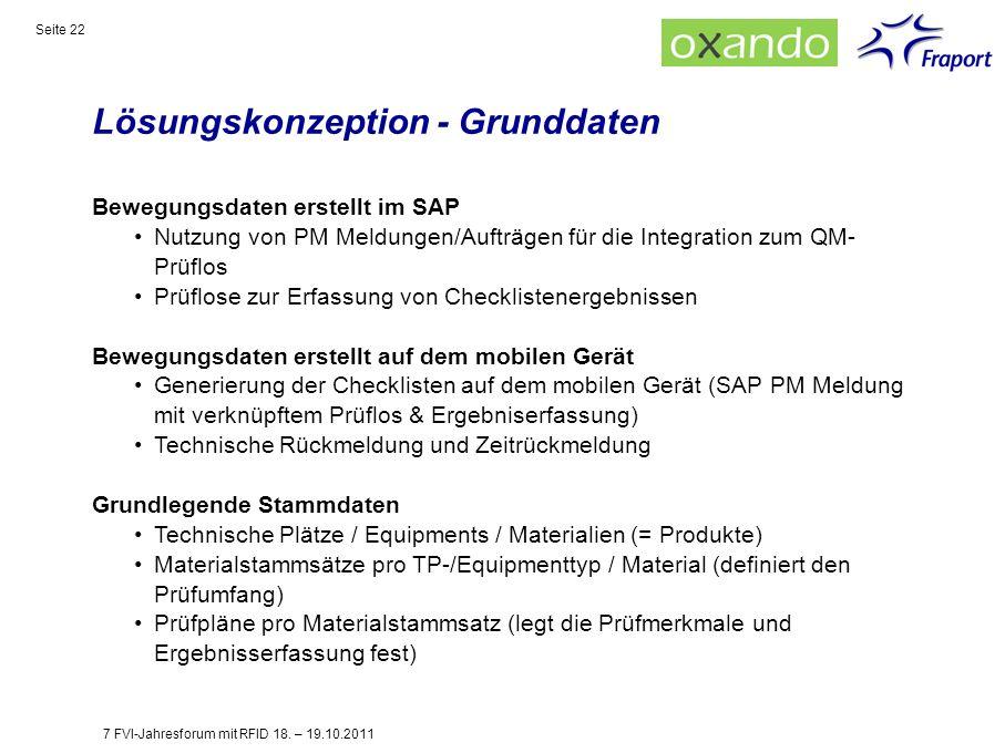 Lösungskonzeption - Grunddaten Seite 22 Bewegungsdaten erstellt im SAP Nutzung von PM Meldungen/Aufträgen für die Integration zum QM- Prüflos Prüflose