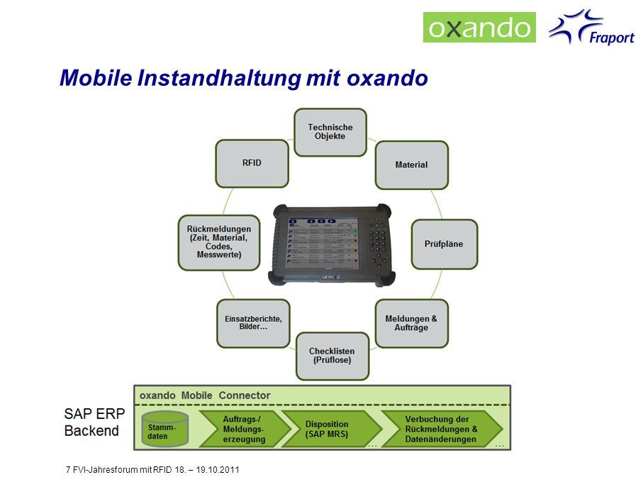 Mobile Instandhaltung mit oxando 7 FVI-Jahresforum mit RFID 18. – 19.10.2011