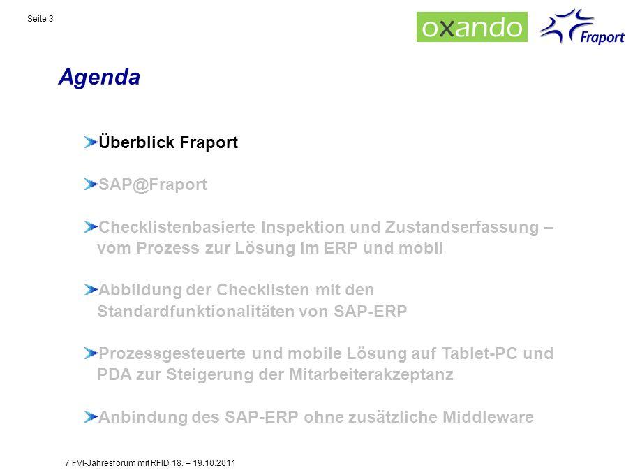 Agenda Seite 3 Überblick Fraport SAP@Fraport Checklistenbasierte Inspektion und Zustandserfassung – vom Prozess zur Lösung im ERP und mobil Abbildung