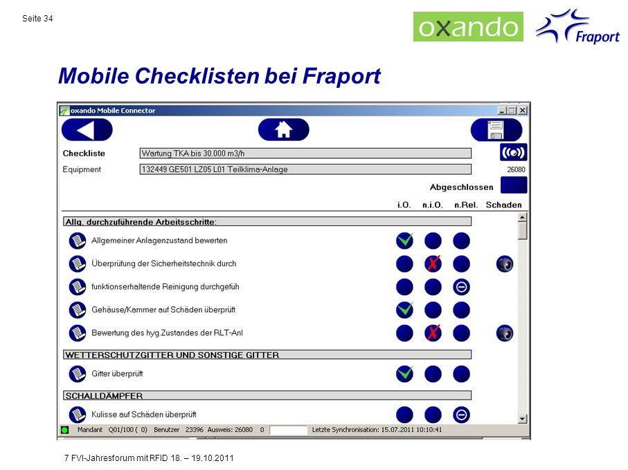 Mobile Checklisten bei Fraport Seite 34 7 FVI-Jahresforum mit RFID 18. – 19.10.2011