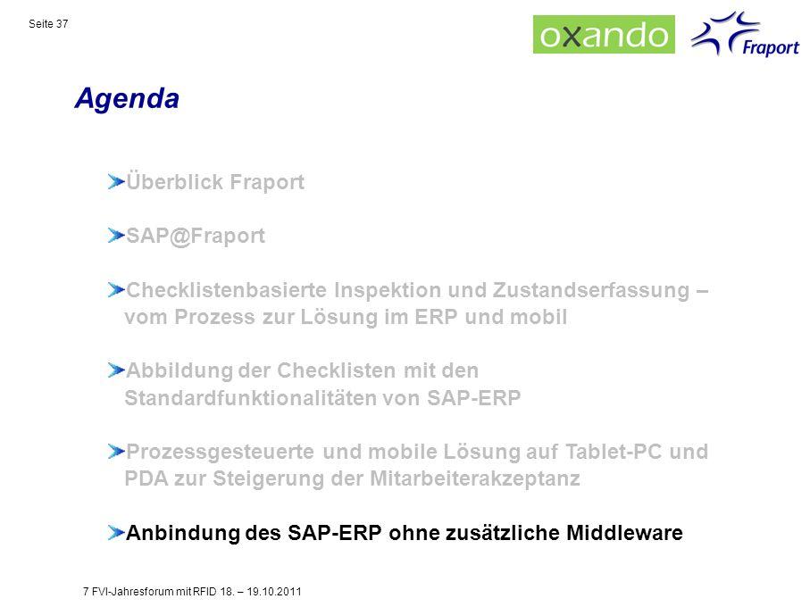 Agenda Seite 37 Überblick Fraport SAP@Fraport Checklistenbasierte Inspektion und Zustandserfassung – vom Prozess zur Lösung im ERP und mobil Abbildung