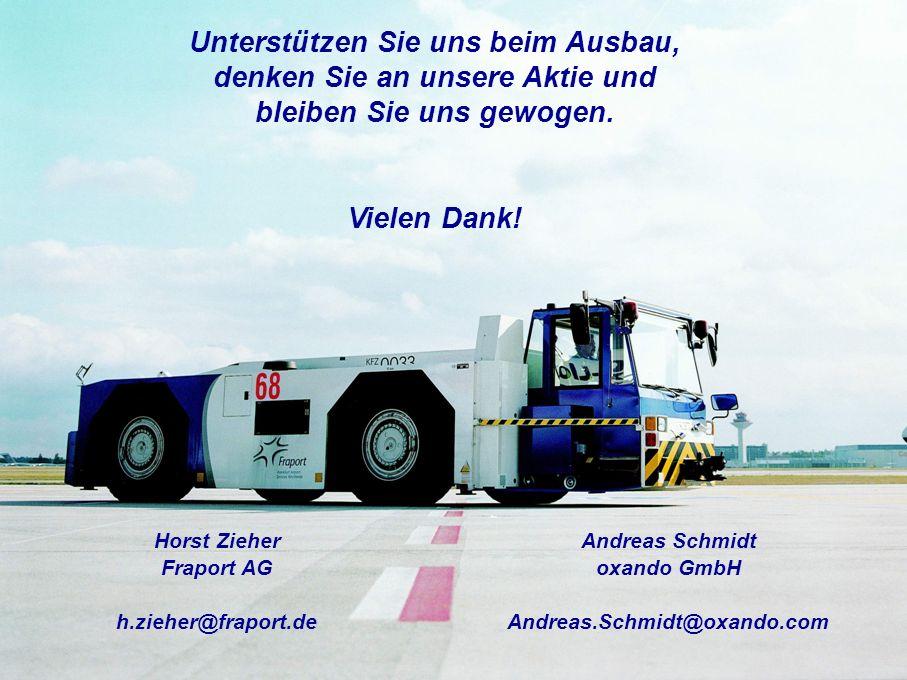 Unterstützen Sie uns beim Ausbau, denken Sie an unsere Aktie und bleiben Sie uns gewogen. Vielen Dank! Horst Zieher Fraport AG h.zieher@fraport.de And