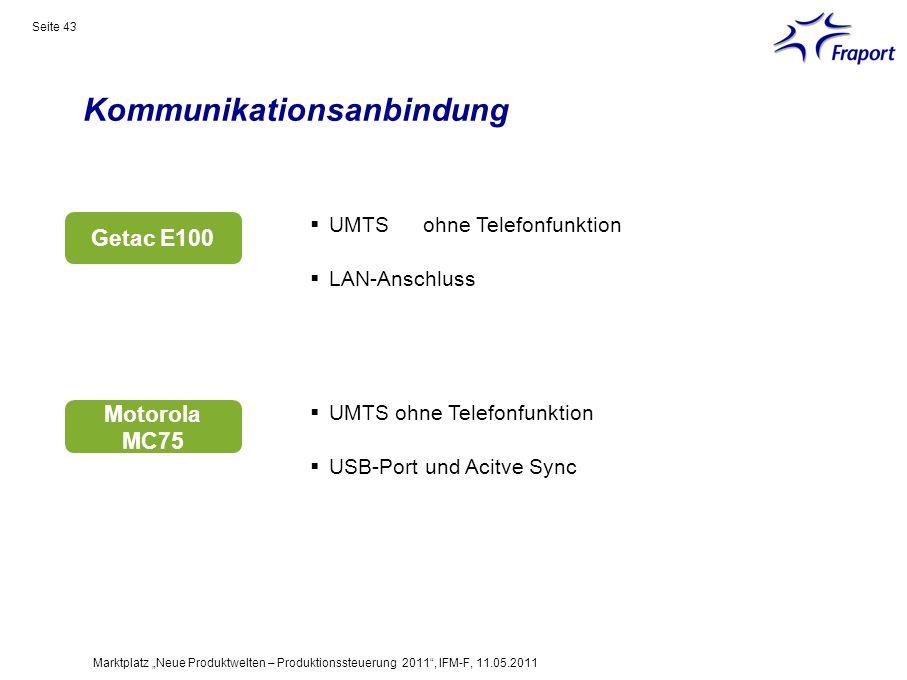 Kommunikationsanbindung Seite 43 Marktplatz Neue Produktwelten – Produktionssteuerung 2011, IFM-F, 11.05.2011 UMTS ohne Telefonfunktion LAN-Anschluss
