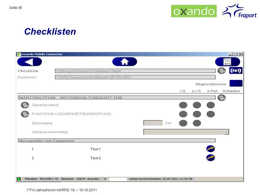 Checklisten Seite 46 7 FVI-Jahresforum mit RFID 18. – 19.10.2011