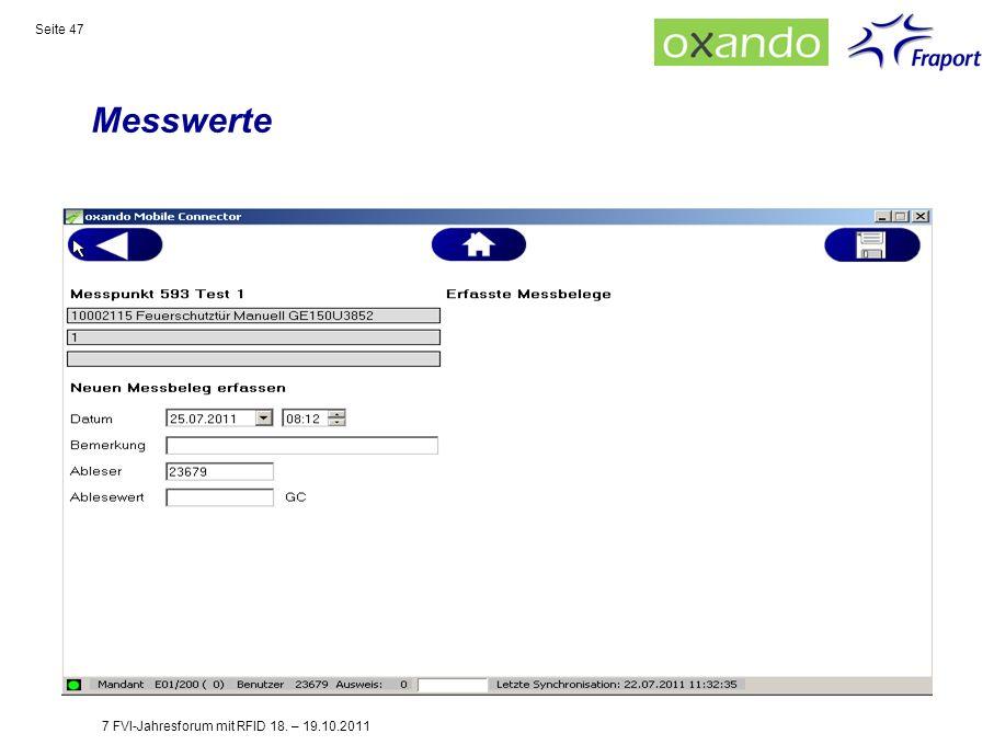 Messwerte Seite 47 7 FVI-Jahresforum mit RFID 18. – 19.10.2011