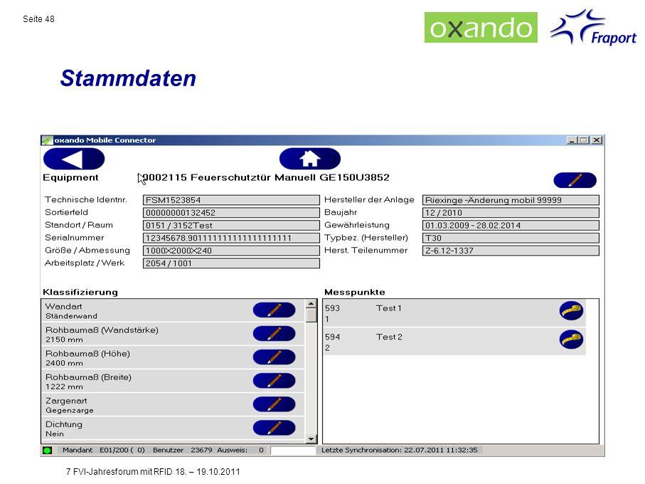 Stammdaten Seite 48 7 FVI-Jahresforum mit RFID 18. – 19.10.2011