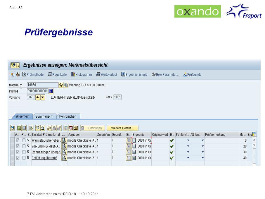 Prüfergebnisse Seite 53 7 FVI-Jahresforum mit RFID 18. – 19.10.2011
