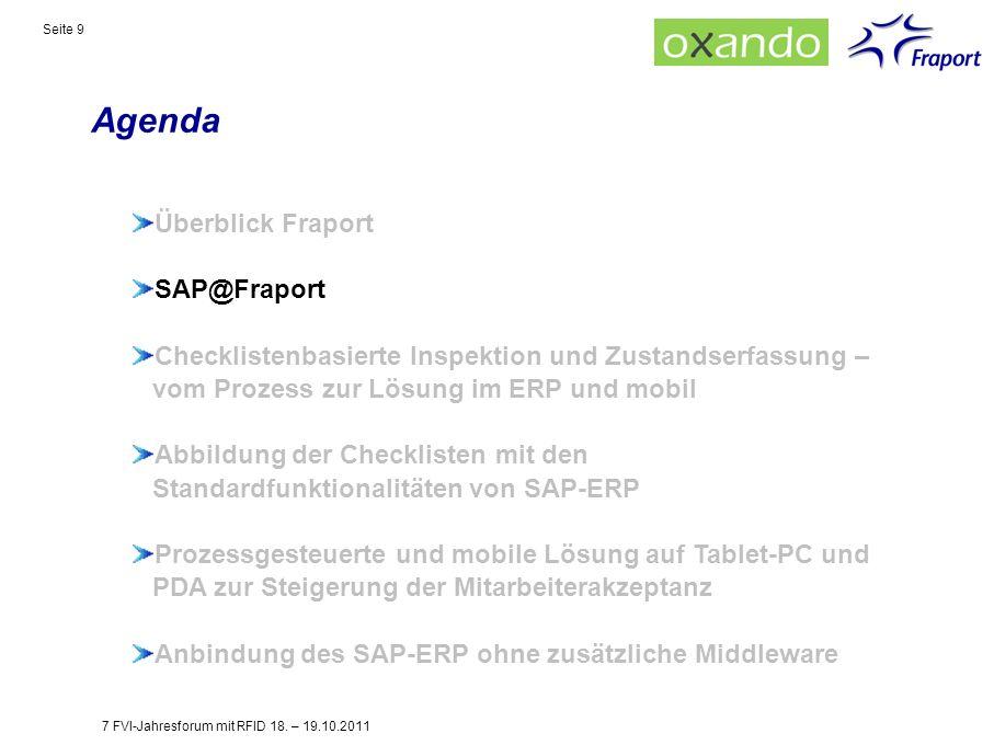 Agenda Seite 9 Überblick Fraport SAP@Fraport Checklistenbasierte Inspektion und Zustandserfassung – vom Prozess zur Lösung im ERP und mobil Abbildung