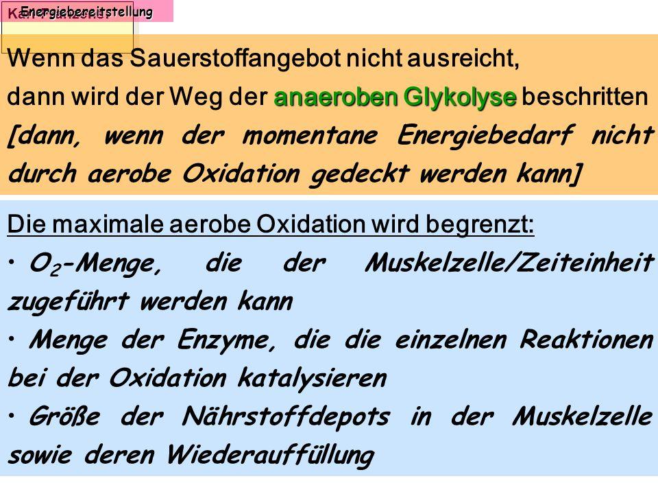 Karl-Franzens: Energiebereitstellung Wenn das Sauerstoffangebot nicht ausreicht, anaeroben Glykolyse dann wird der Weg der anaeroben Glykolyse beschri